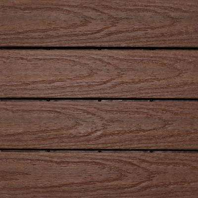 UltraShield Naturale 1 ft. x 1 ft. Quick Deck Outdoor Composite Deck Tile Sample in California Redwood