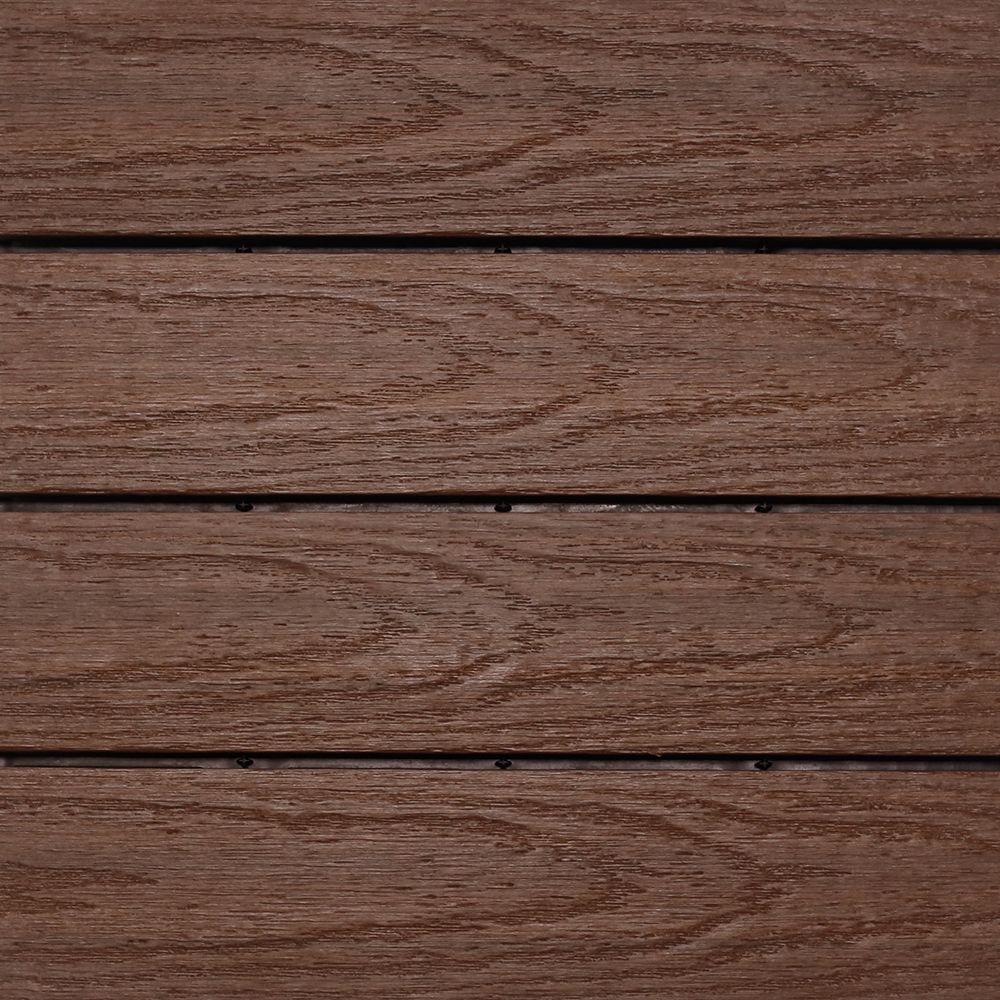 UltraShield Naturale 1 ft. x 1 ft. Quick Deck Outdoor Composite Deck Tile Sample in California Redwood