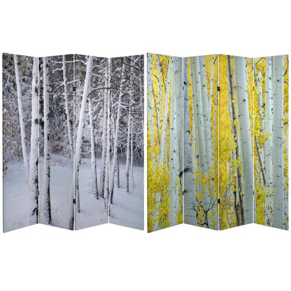 Oriental Furniture 6 ft. Printed 4-Panel Room Divider CAN-TREES