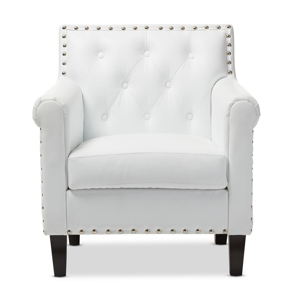 Baxton Studio Thala White Faux Leather Upholstered Arm Chair
