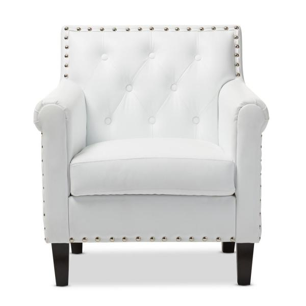 Baxton Studio Thalassa White Faux Leather Upholstered Arm Chair 28862-4325-HD