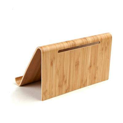 Brown Bamboo Portable Tablet Stand for Phones and Tablets