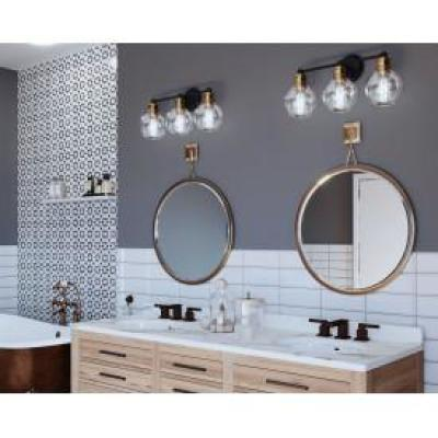 Hansford Collection 24.5 in. 3-Light Antique Bronze Bathroom Vanity Light with Clear Globe Shades