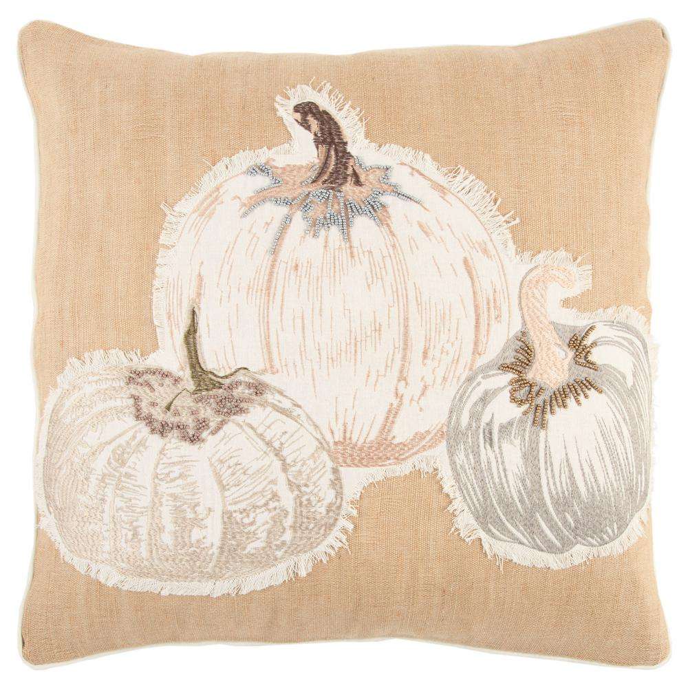 Rizzy Home Harvest Pumpkins 20 in. x 20 in. Decorative Filled Pillow-PILT13359NTGY2020 - The ...