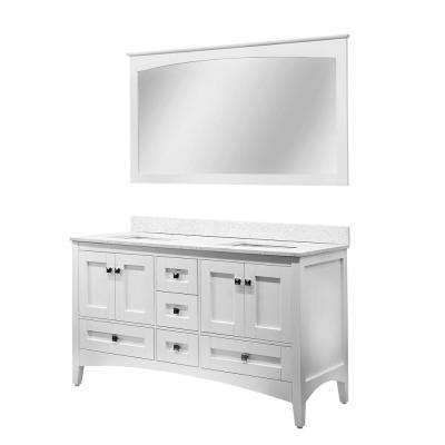 Caius 59 in. W x 34 in. H Vanity in White with Quartz Vanity Top in White with Crystal White Square Basin and Mirror