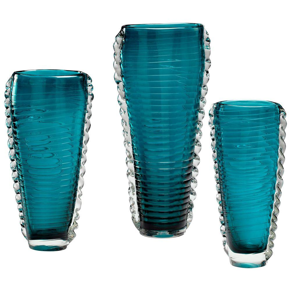 Filament Design Prospect 11 in. Small Cyan Decorative Vase in Blue