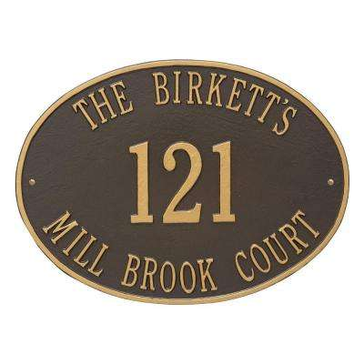 Hawthorne Estate Oval Bronze/Gold Wall 3-Line Address Plaque