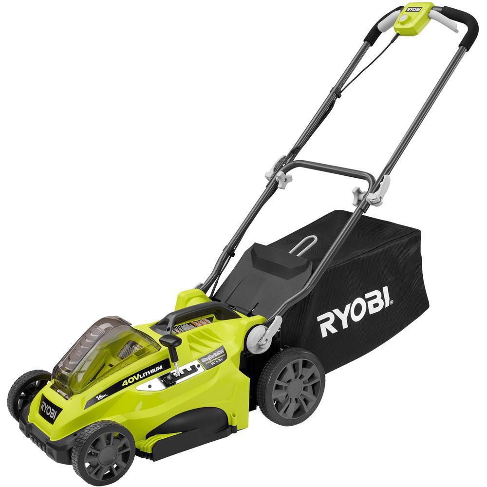 RYOBI 16 in. 40-Volt Lithium-Ion Cordless Battery Walk Behind Push Lawn Mower - Battery/Charger Not Included
