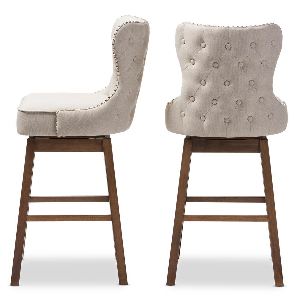 Beige fabric upholstered swivel bar stool set of 2