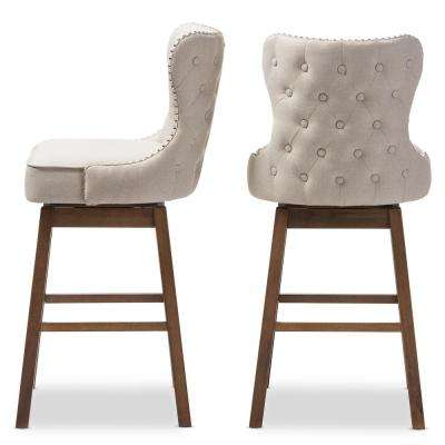Gradisca 31 in. Beige Fabric Upholstered Swivel Bar Stool (Set of 2)