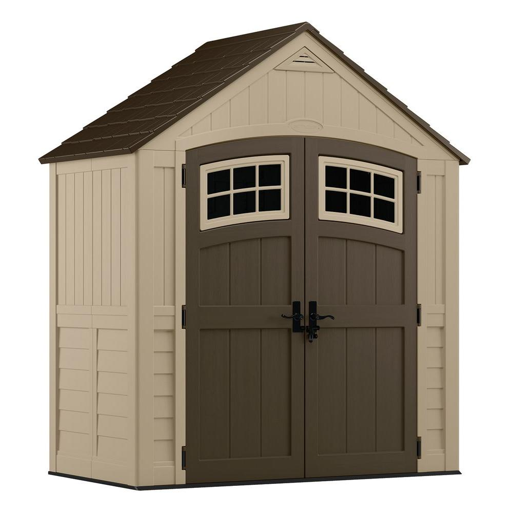 Suncast sutton 7 ft 4 5 in x 3 ft in resin for Garden shed 5 x 4