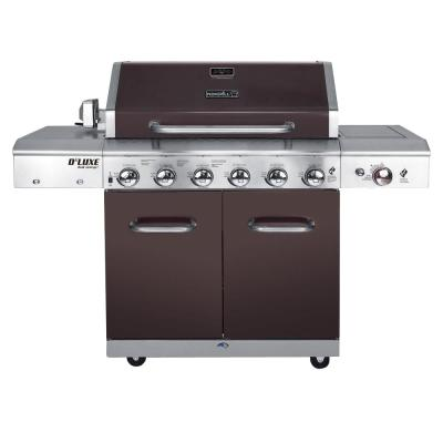 Deluxe 6-Burner Propane Gas Grill in Mocha with Ceramic Searing Side Burner