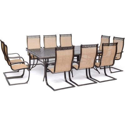 Manor 11-Piece Sling Outdoor Dining Set with C-Spring Rockers