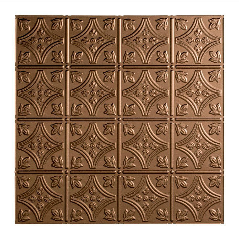 Fasade Traditional 1 - 2 ft. x 2 ft. Lay-in Ceiling Tile in Argent Bronze
