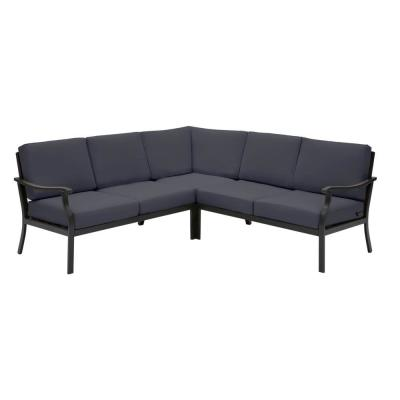 Riley 3-Piece Black Steel Outdoor Patio Sectional Sofa with CushionGuard Midnight Navy Blue Cushions