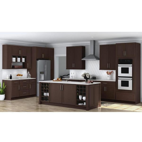 Hampton Bay Shaker Assembled 33x96x24 In Double Oven Kitchen Cabinet In Java Kdv3396 Sjm The Home Depot