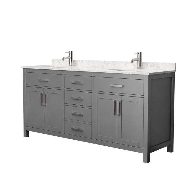 Beckett 72 in. W x 22 in. D Double Bath Vanity in Dark Gray with Cultured Marble Vanity Top in Carrara with White Basins