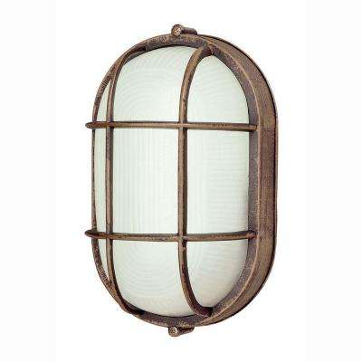 Energy Saving Bulkhead 1-Light Outdoor Rust Wall or Ceiling Mounted Fixture with Frosted Glass