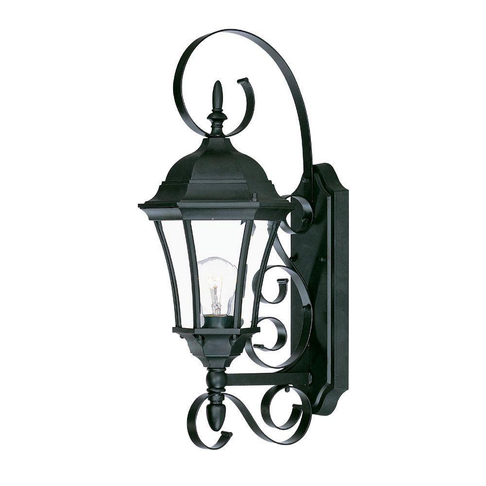 New orleans collection 1 light matte black outdoor wall mount light fixture