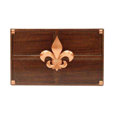 Wireless or Wired Door Bell, Medium Red Oak Wood with Fleur-De-Lis Medallion