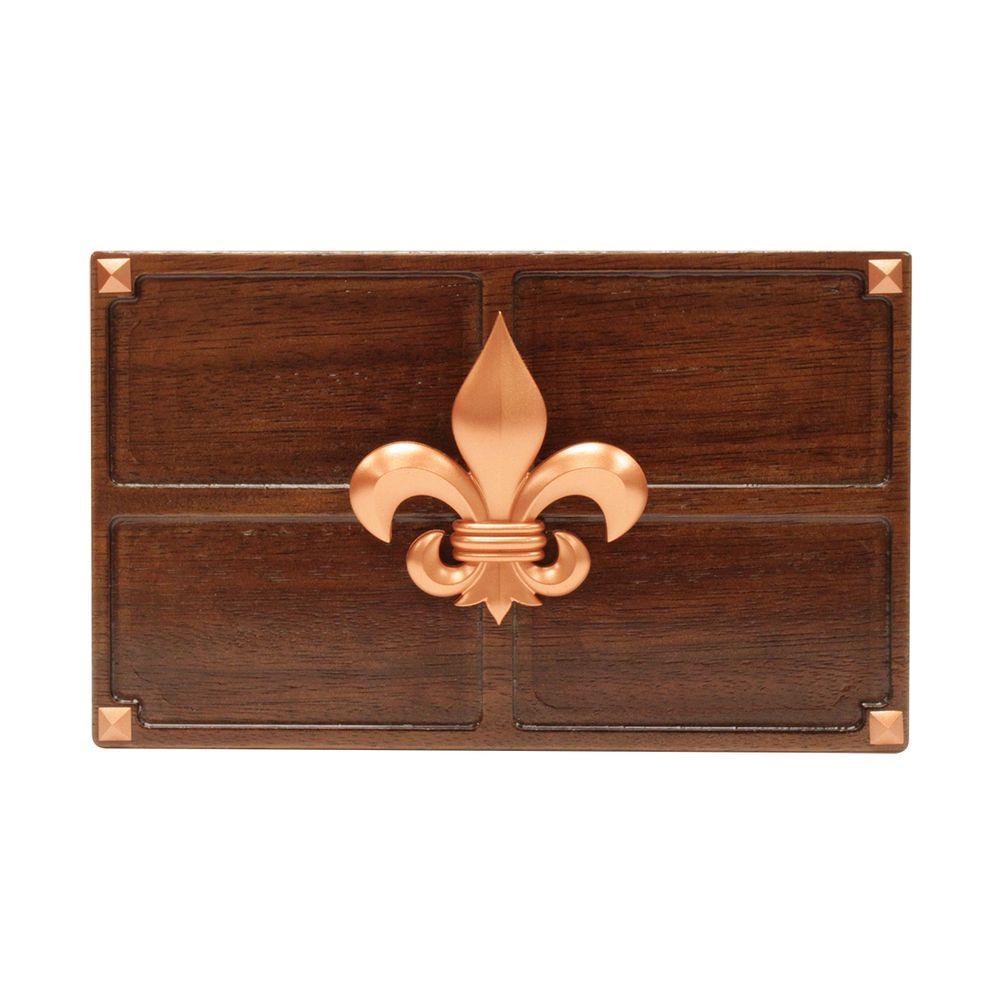 Wireless or Wired Door Bell, Medium Red Oak Wood with Fleur-De-Lis Medallion