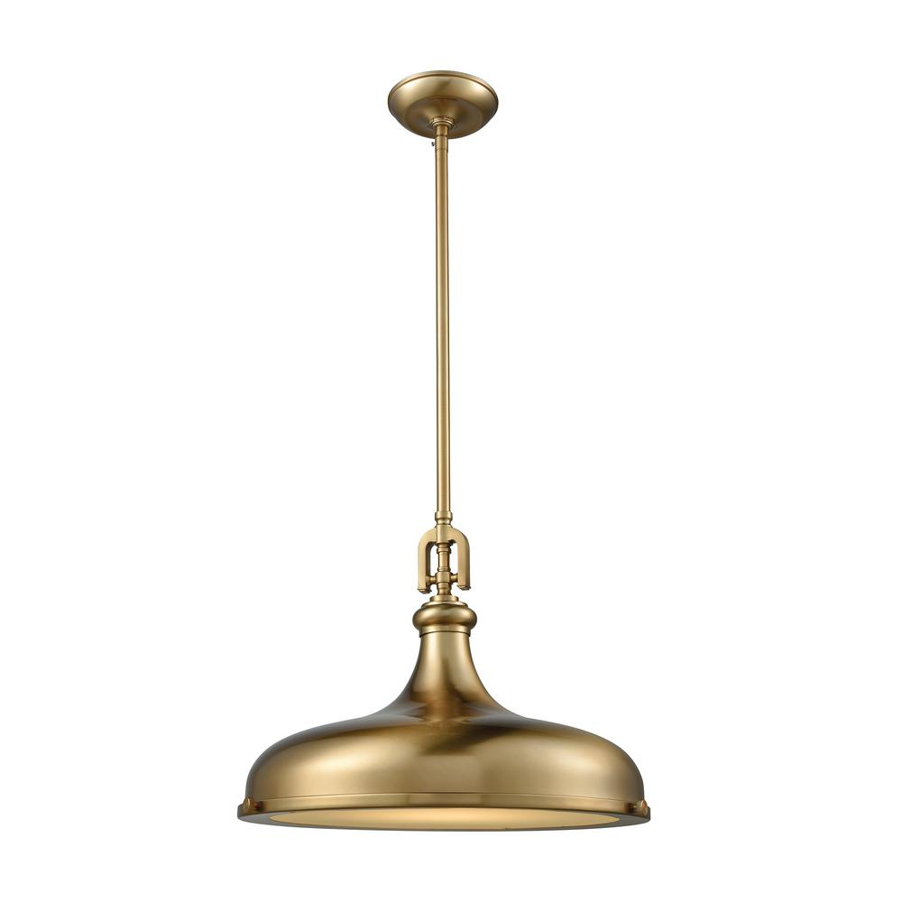 Titan Lighting Rutherford 1-Light Satin Brass with Frosted Glass Diffuser Pendant