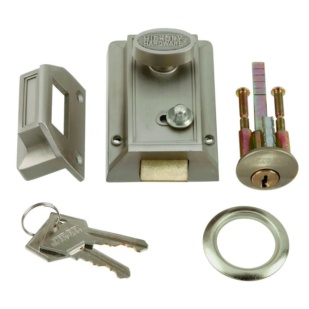 Satin Nickel Door Night Latch and Locking Cylinder