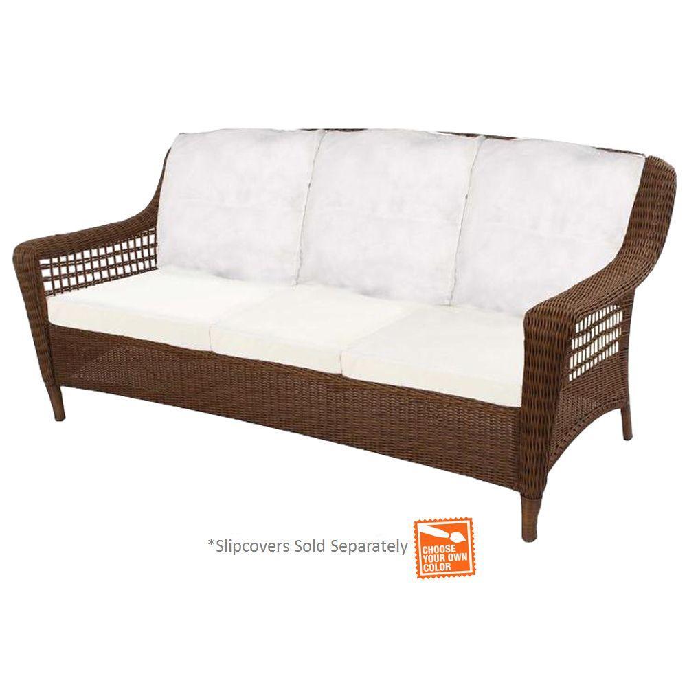 Hampton bay spring haven brown wicker outdoor patio sofa for Sofa exterior