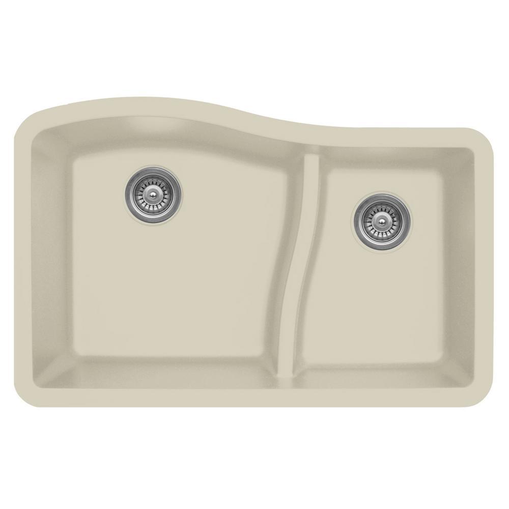 Undermount Quartz Composite 32 in. 60/40 Double Bowl Kitchen Sink in Bisque