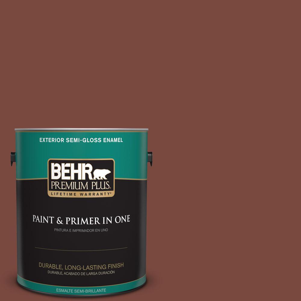 BEHR Premium Plus 1-gal. #200F-7 Wine Barrel Semi-Gloss Enamel Exterior Paint