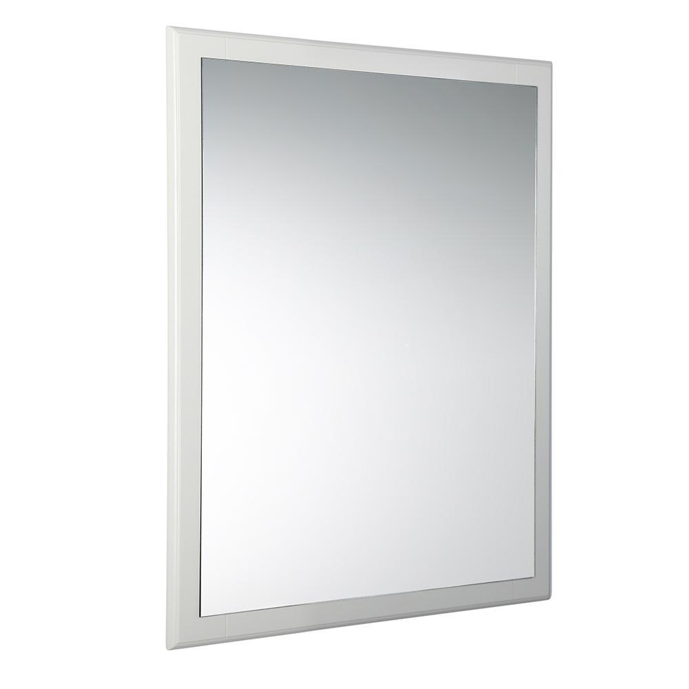 Fresca Oxford 26 in. W x 32 in. H Framed Wall Mirror in Antique White