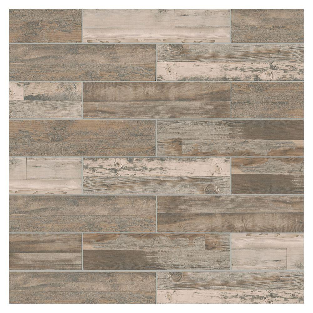 Marazzi Montagna Wood Weathered Gray 6 In X 24 Porcelain Floor And Wall