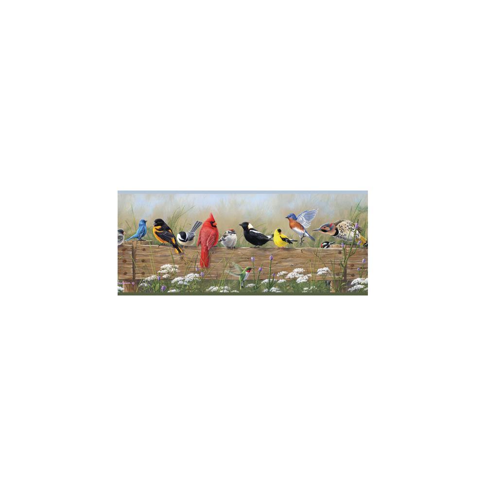 Clarence Green Songbird Menagerie Portrait Wallpaper Border Sample