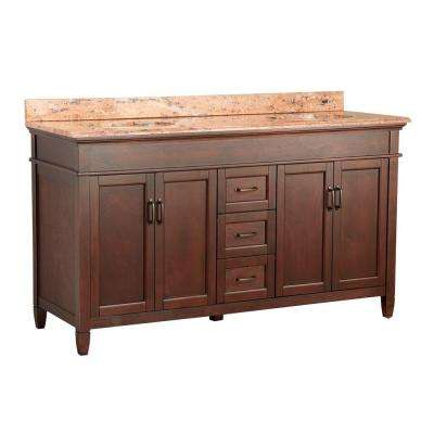 Ashburn 61 in. W x 22 in. D Vanity in Mahogany with Vanity Top and Stone Effects in Bordeaux