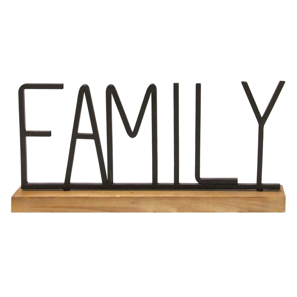 Stratton Home Decor Metal And Wood Family Table Top S21034 The Home Depot