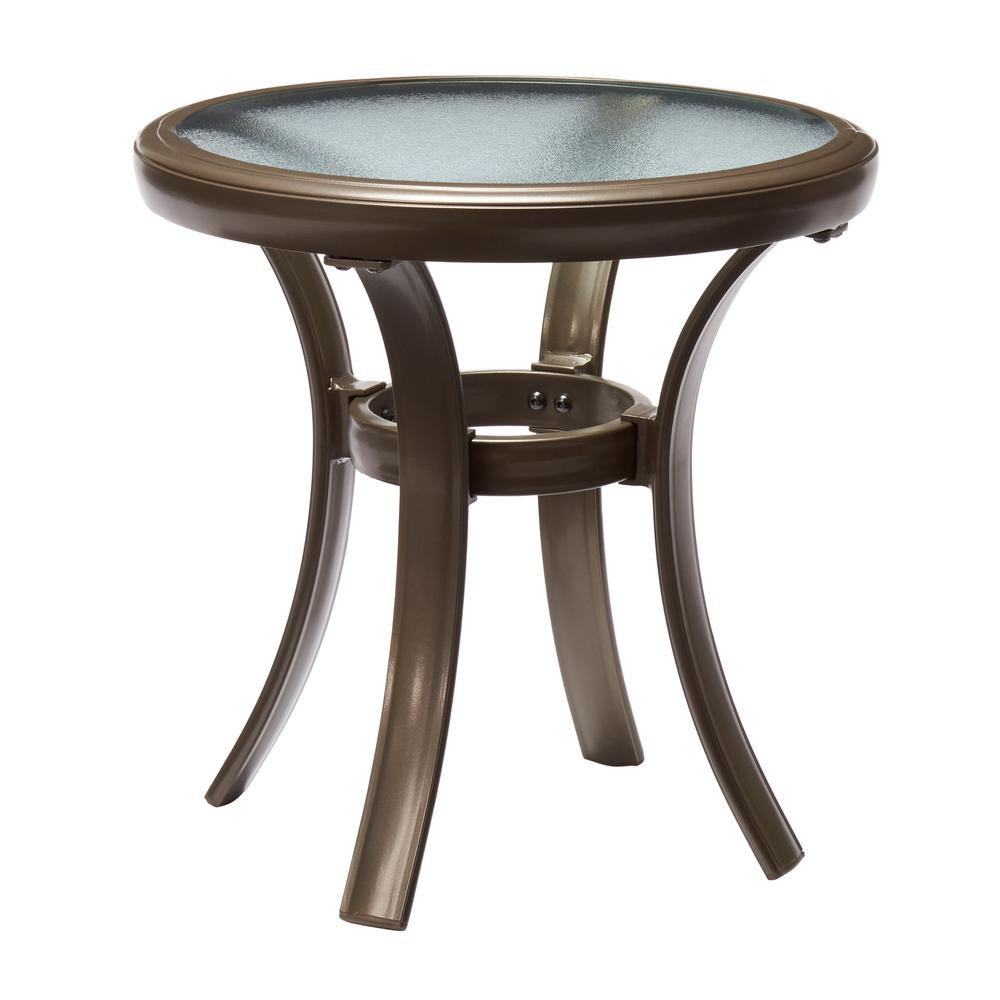 Hampton Bay Commercial Grade Aluminum Brown Round Outdoor Side  Table FTA60762B   The Home Depot