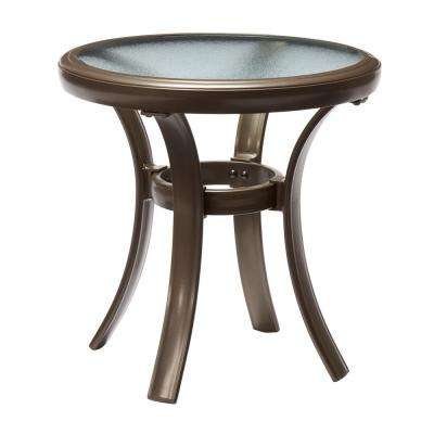 Commercial Grade Aluminum Brown Round Outdoor Side Table
