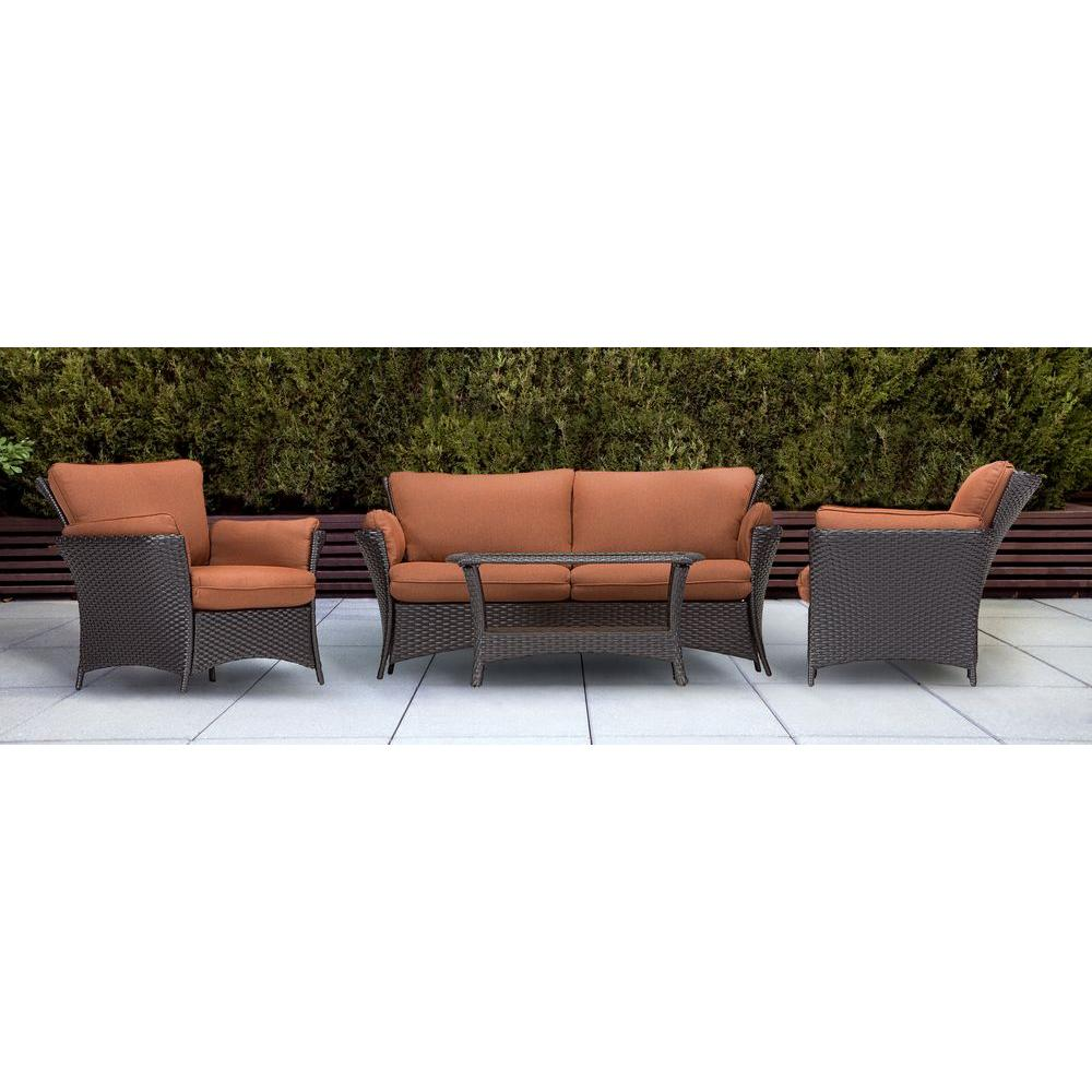 Superbe Hanover Strathmere Allure 4 Piece Patio Conversation Set With Woodland Rust  Cushions. +5