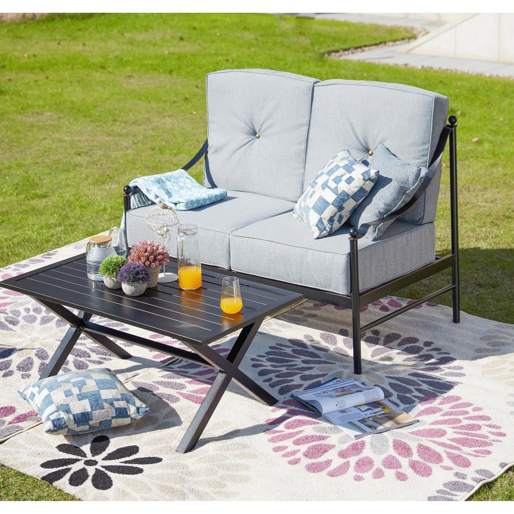Marvelous Patio Festival 2 Piece Metal Patio Deep Seating Set With Gray Cushions Bralicious Painted Fabric Chair Ideas Braliciousco