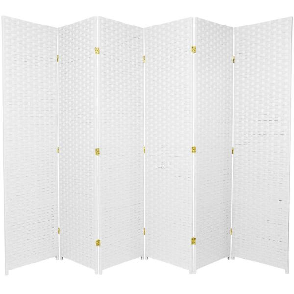 Oriental Furniture 6 ft. White 6-Panel Room Divider SSFIBER-6P-WHT