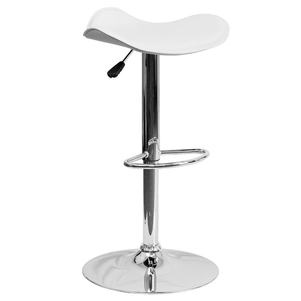 Adjustable Height White Bar Stool