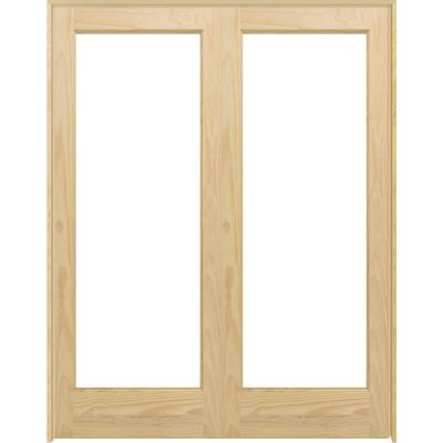 60 in. x 80 in. Universal 1-Lite Clear Glass Unfinished Pine Double Prehung Interior French Door with Bronze Hinges
