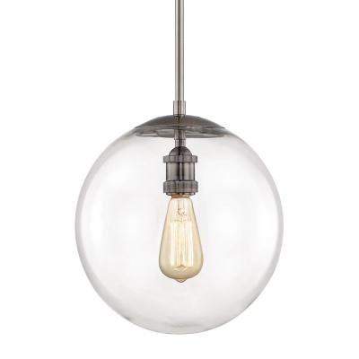 12 in. 1-Light Historic Nickel Globe Pendant Vintage Bulb Included