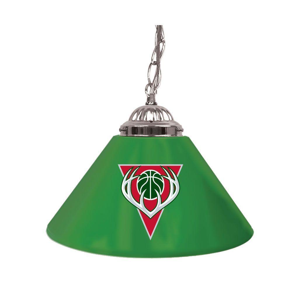 Milwaukee Bucks NBA 14 in. Single Shade Stainless Steel Hanging Lamp