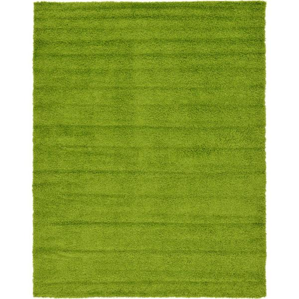 Solid Shag Grass Green 9 ft. x 12 ft. Area Rug