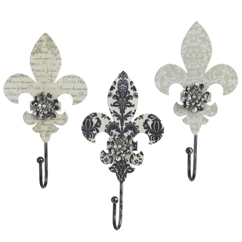 Filament Design Sundry 8.25 in. x 4.25 in. Fleur de Lis Wall Hook Traditional Wall Art (Set of 3)-DISCONTINUED