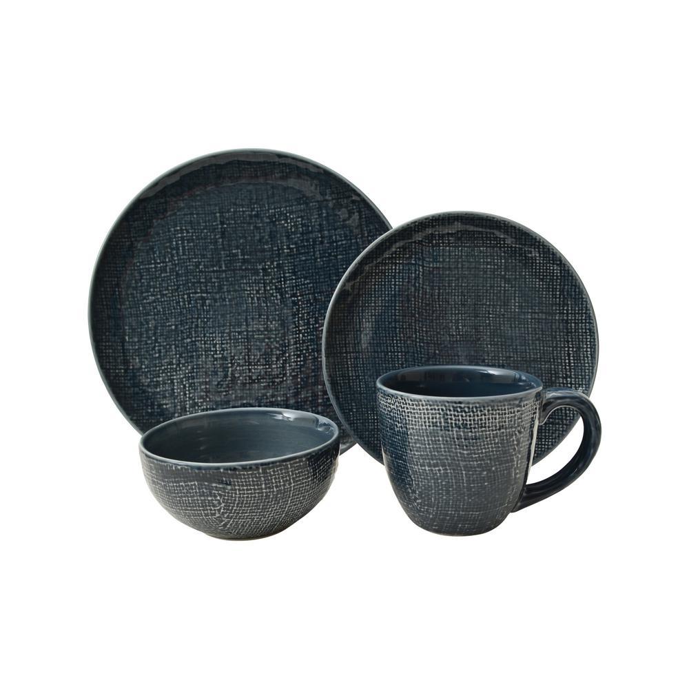 Kain 16-Piece Blue Dinnerware Set