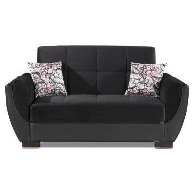 Armada Air Black / Black Fabric Upholstery Convertible Love Seat with Storage