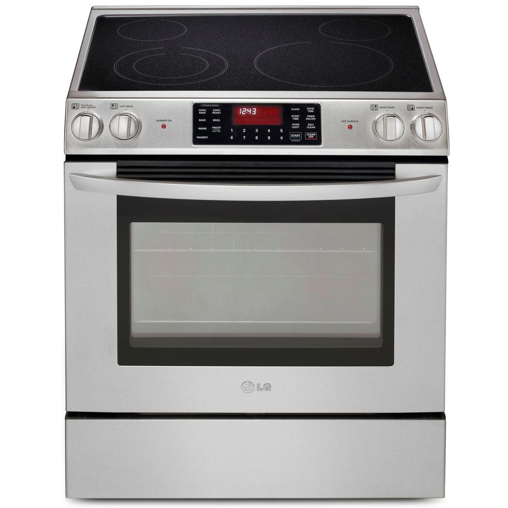 LG Electronics 5.4 cu. ft. Slide-In Electric Range with Self- Cleaning Convection Oven in Stainless Steel
