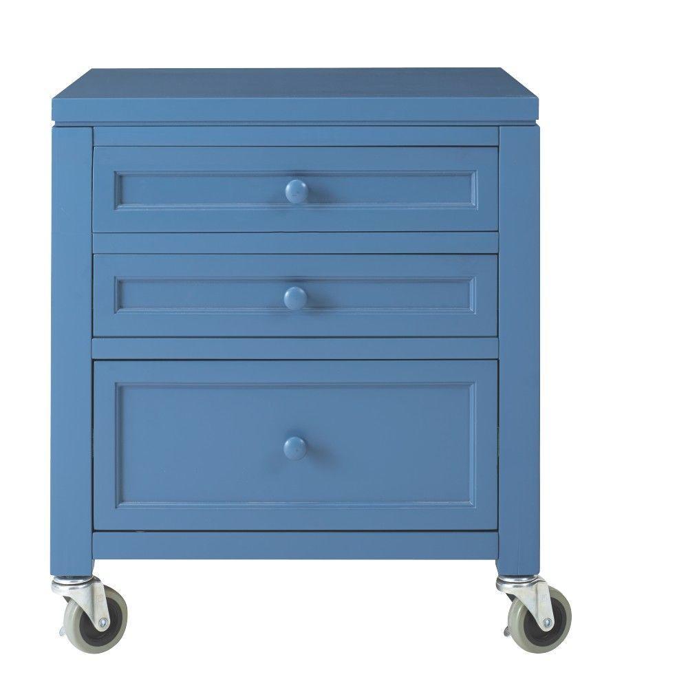 Martha Stewart Living Craft Space 21 in. W 3-Drawer Wood Under-Table Cart in Mariner